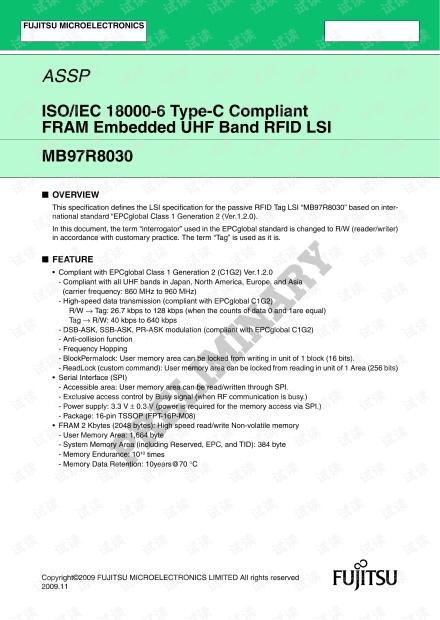 铁电内存的超高频RFID MB97R8030.pdf