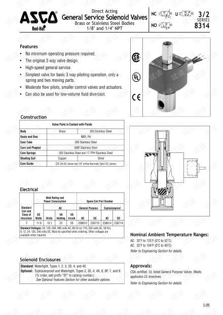 ASCO两位三通电磁阀8314系列.pdf