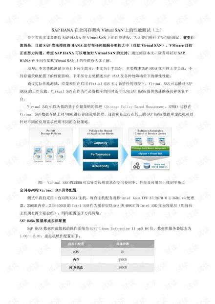 SAP-HANA在全闪存架构Virtual-SAN上的性能测试
