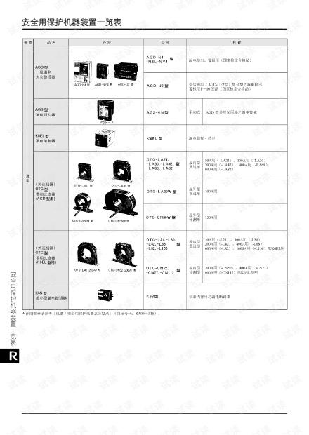 omron安全用保护机器一览表.pdf