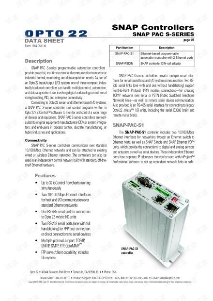 Opto 22 SNAP-PAC-S DATA SHEET.pdf