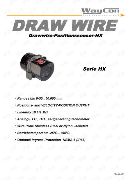 WAYCON  HX系列拉绳位移传感器 手册.pdf