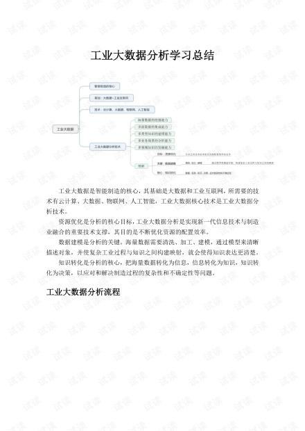2019年工业大数据分析指南学习总结.pdf