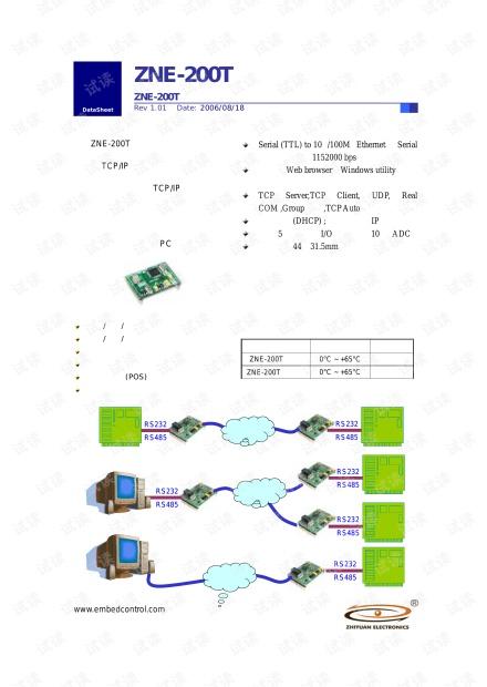 广州致远 ZNE-200T 以太网转串口模块产品数据手册.pdf