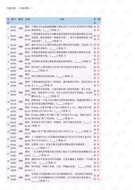 2019年大学计算机基础课程题库(浙大).pdf