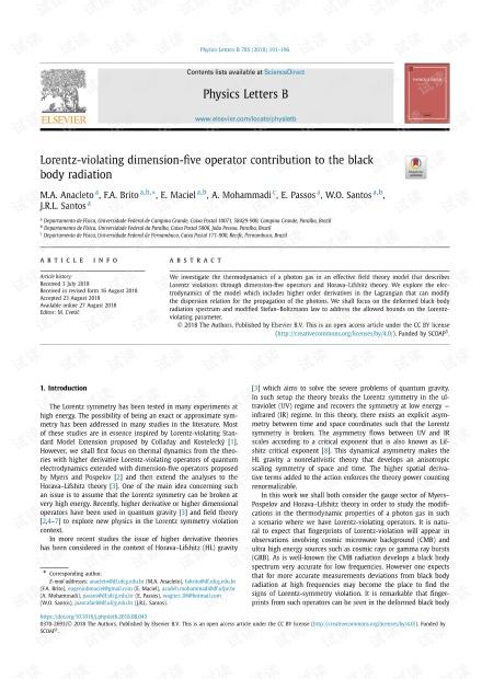 洛伦兹违反维数五维算子对黑体辐射的贡献