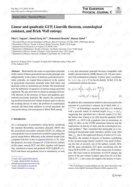 线性和二次GUP,Liouville定理,宇宙常数和砖墙熵