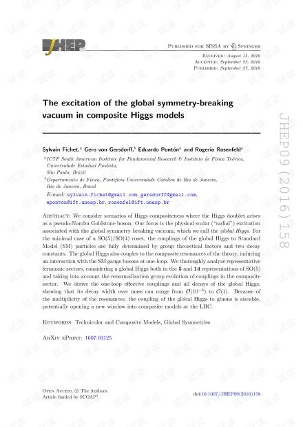 复合希格斯模型中打破对称的整体真空的激发