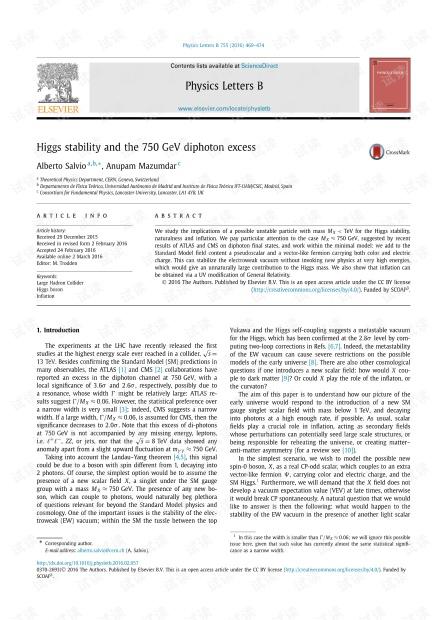 希格斯稳定性和750 GeV双光子过量