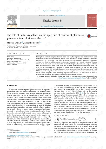 LHC质子-质子碰撞中有限尺寸效应对等效光子光谱的作用