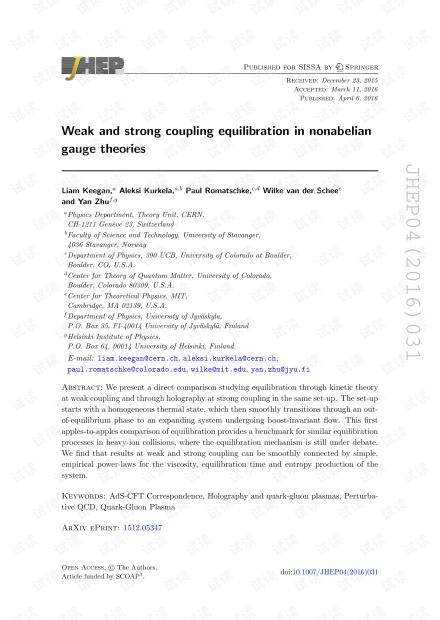 非阿贝尔规范理论中的弱耦合和强耦合平衡