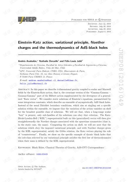 爱因斯坦-卡兹作用,变分原理,Noether电荷和AdS黑洞的热力学