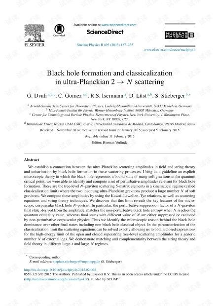 超普朗克2→N散射中的黑洞形成和经典化