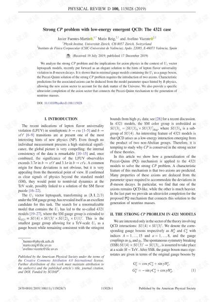 低能量紧急QCD的强CP问题:4321例