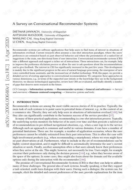 对话推荐系统综述论文(A Survey on Conversational Recommender Systems)【35页pdf】.pdf