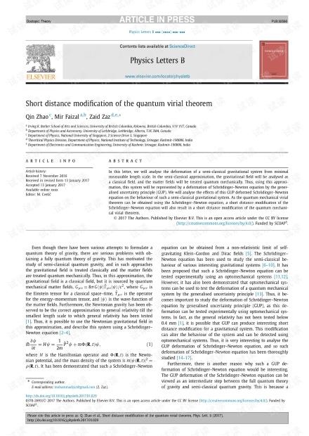 量子病毒定理的短距离修正