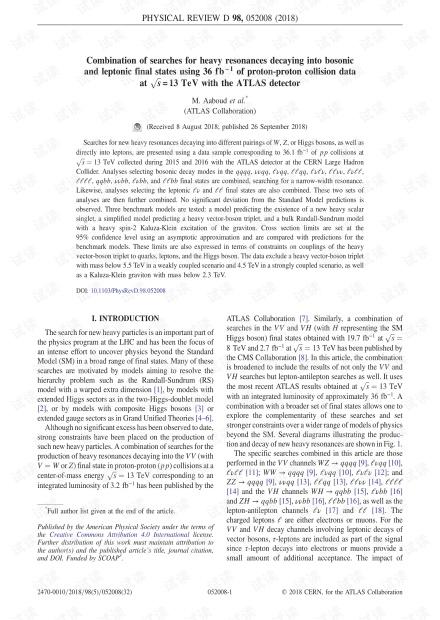 使用ATLAS探测器在s = 13 TeV时使用36 fb-1质子-质子碰撞数据搜索重共振衰减为玻色子和轻子最终状态的搜索组合