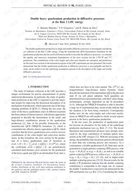 Run 2 LHC能量在衍射过程中产生双重量夸克