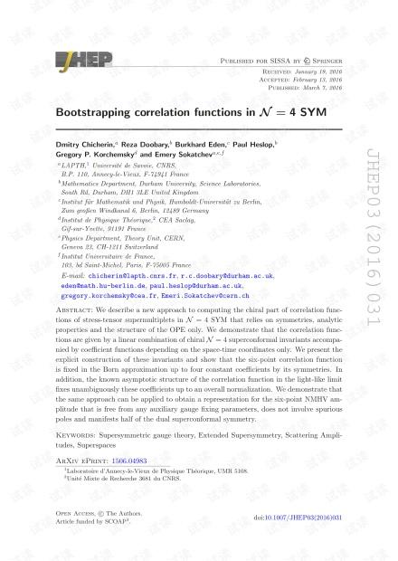 N = 4 $$ \ mathcal {N} = 4 $$ SYM中的自举相关函数