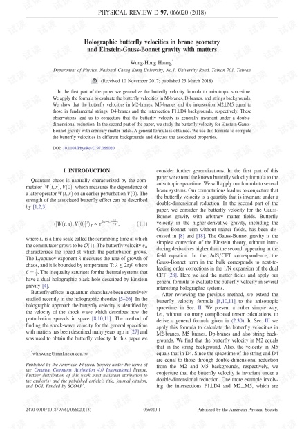 米糠几何学中的全息蝴蝶速度和爱因斯坦-高斯-贝内特引力