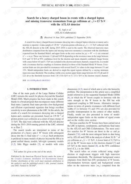 使用ATLAS探测器在s = 13 TeV的pp碰撞中有轻子带电且缺少pp动量的事件中寻找重的带电玻色子
