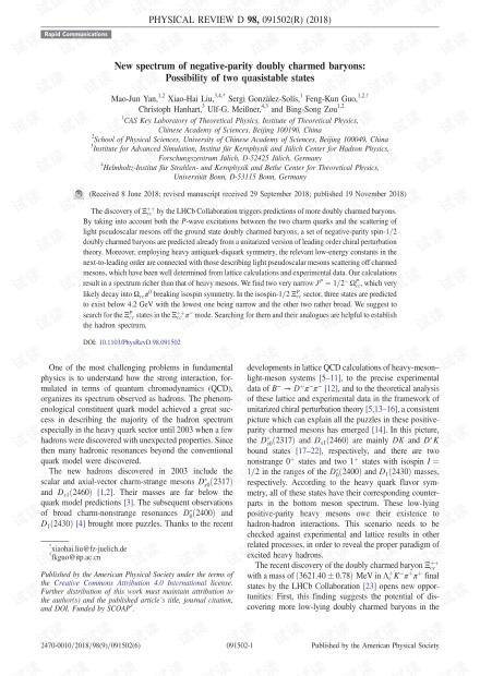 负奇偶双重子的新光谱:两个拟状态的可能性