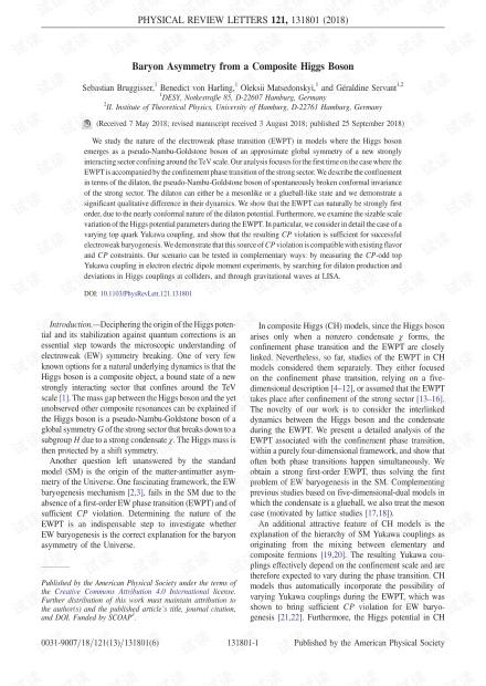 复合希格斯玻色子的重子不对称