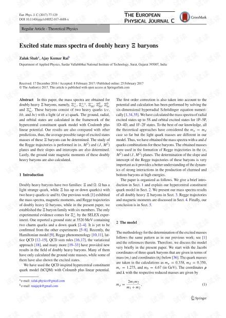 双重Ξ重子的激发态质谱