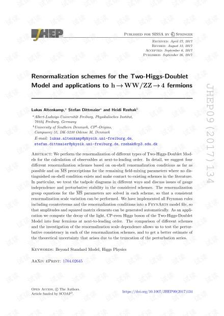 Two-Higgs-Doublet模型的重归一化方案及其在h→WW / ZZ→4个费米子上的应用