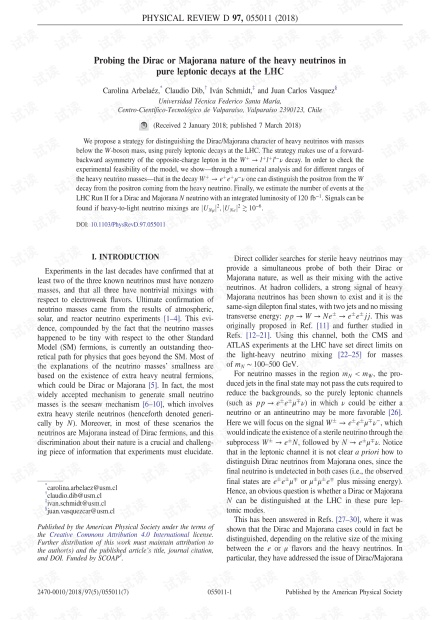 在大型强子对撞机的纯轻子衰变中探测重中微子的狄拉克或马约拉纳性质