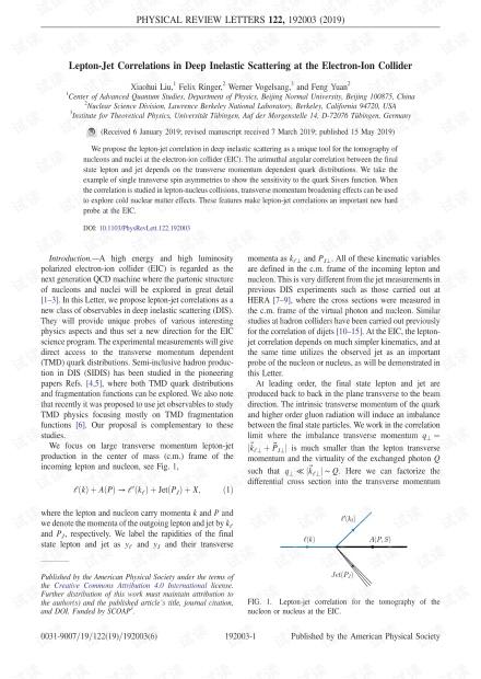 电子对撞机在深非弹性散射中的轻子喷射相关性
