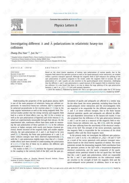 研究相对论重离子碰撞中的不同Λ和极化