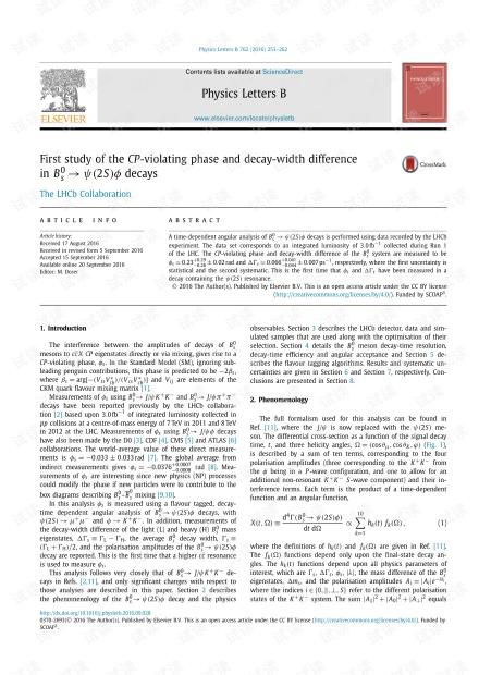Bs0→ψ(2S)ϕ衰变中CP违反相位和衰变宽度差的初步研究