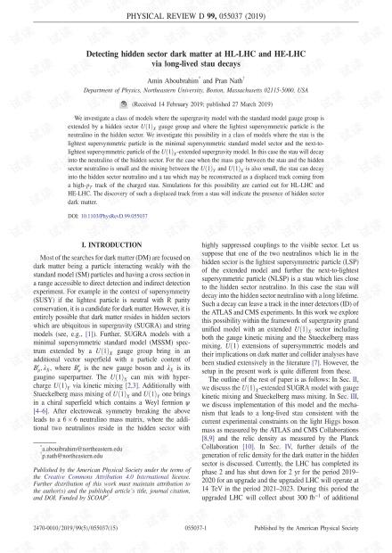 通过长寿命的Stau衰变检测HL-LHC和HE-LHC的隐藏扇区暗物质
