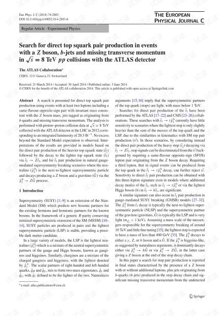 在与ATLAS探测器发生s = 8 TeV pp碰撞的Z玻色子,b射流和缺少横向动量的事件中搜索直接的顶级对副产生