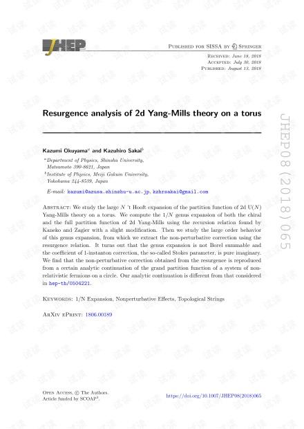 圆环上二维Yang-Mills理论的中兴分析