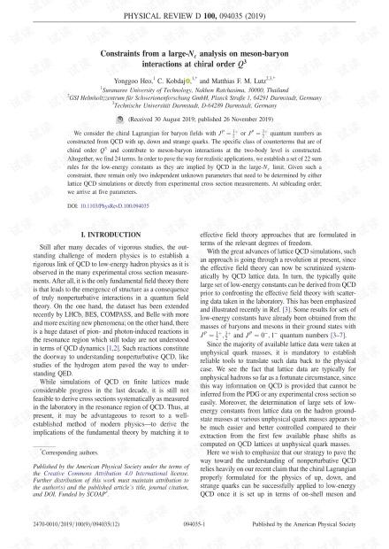 Q3介子重子介子-重子相互作用的大Nc分析的约束