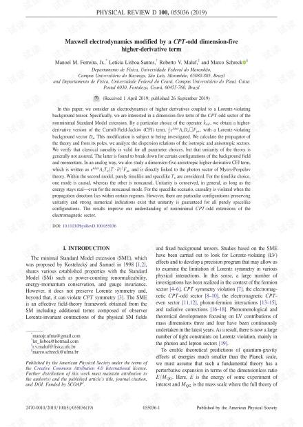 通过CPT奇数维5高阶导数项修改的麦克斯韦电动力学