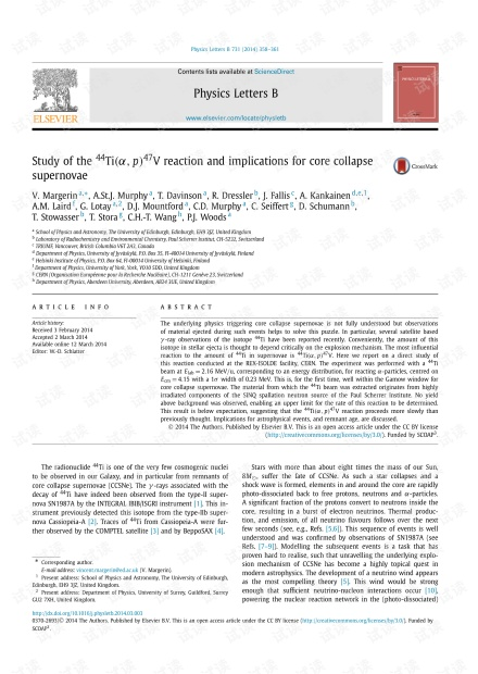 Ti44(α,p)V47反应的研究及其对核塌陷超新星的影响