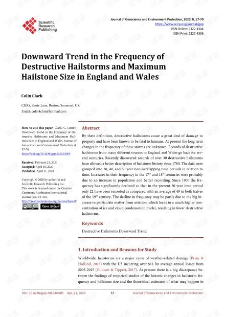 论文研究 - 英格兰和威尔士破坏性冰雹的频率和最大冰雹尺寸的下降趋势