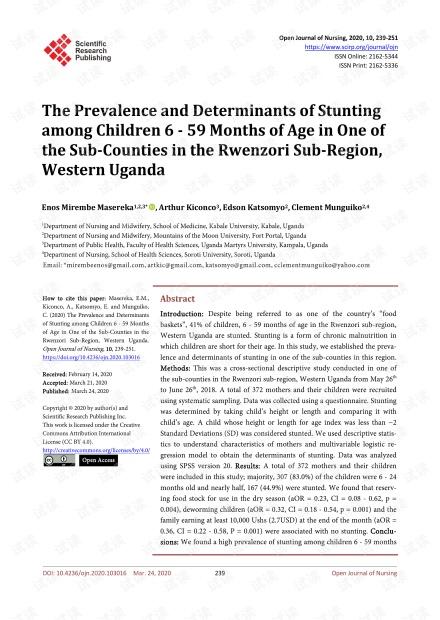 论文研究 - 乌干达西部Rwenzori分区的一个县的6至59个月大的儿童发育迟缓的患病率及其影响因素