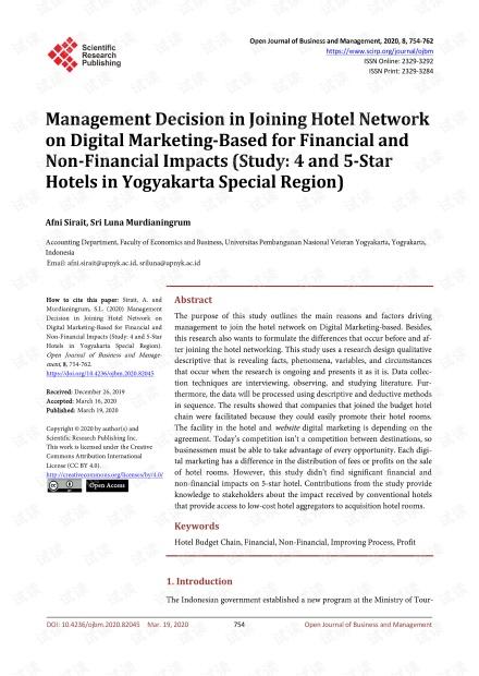 论文研究 - 基于财务和非财务影响加入数字营销酒店网络的管理决策(研究:日惹四星级和五星级酒店)