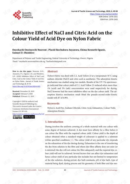 论文研究 - NaCl和柠檬酸对尼龙织物酸性染料着色产量的抑制作用。
