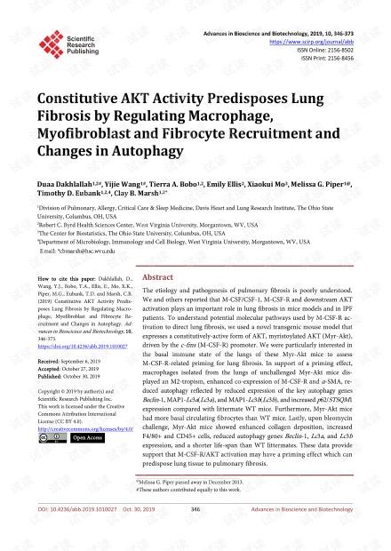 论文研究 - 组成性AKT活性通过调节巨噬细胞,成肌纤维细胞和纤维细胞的募集以及自噬的改变而使肺纤维化易发