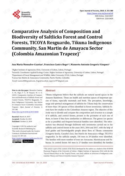 论文研究 - Saltlicks森林和对照森林,TICOYA Resguardo,Tikuna土著社区,San Martin de Amayacu地区(哥伦比亚亚马孙飞人)的组成和生物多样性的比较分析