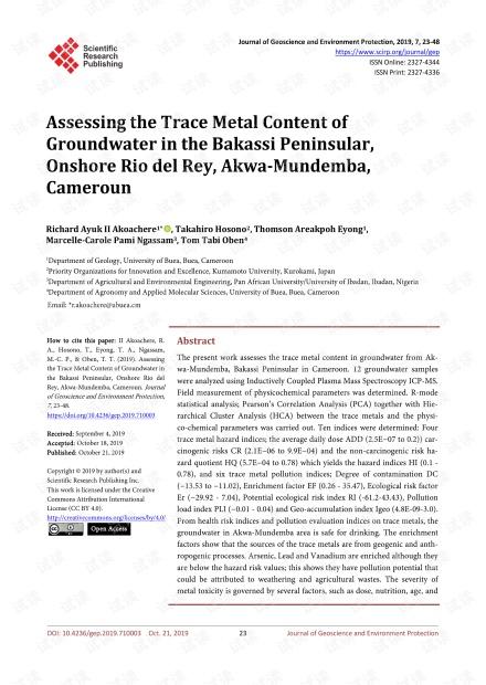 论文研究 - 评估喀麦隆阿克瓦-蒙德姆巴陆上里约热内卢的巴卡西半岛地下水中的痕量金属含量