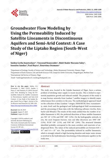 论文研究 - 利用非连续含水层和半干旱环境中卫星线引起的渗透率模拟地下水流:利普塔科地区(尼日尔西南)的案例研究