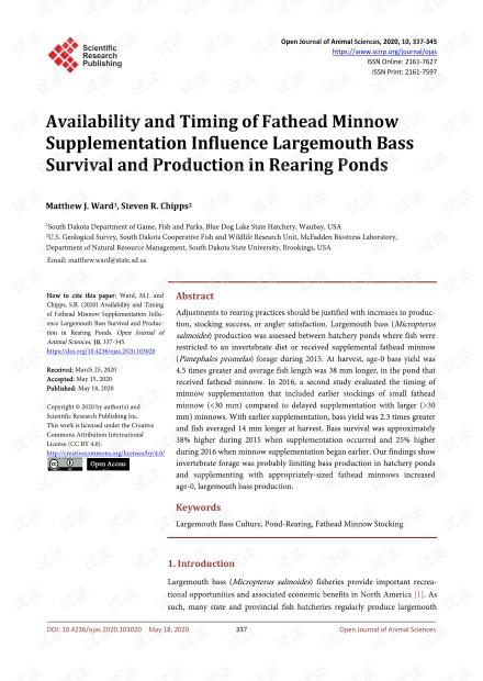 论文研究 - 补充黑头鱼的可用性和时机影响池塘大鲈鱼的生存和生产。