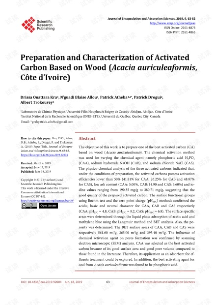 论文研究 - 基于木材的活性炭的制备与表征(
