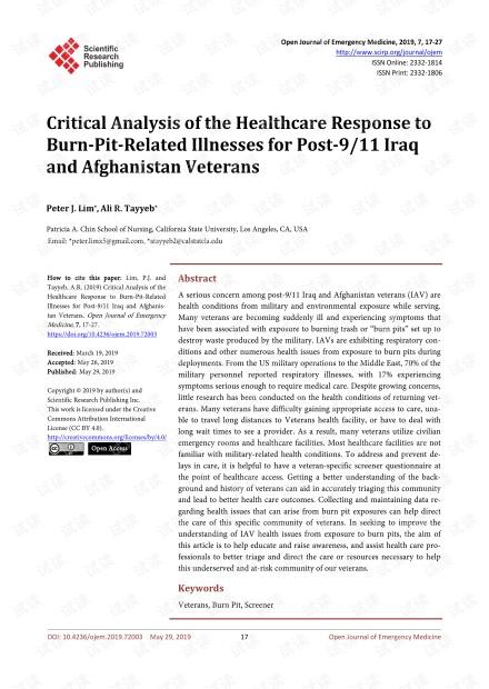 论文研究 - 对9/11之后伊拉克和阿富汗退伍军人对烧伤相关疾病的医疗保健反应的批判性分析